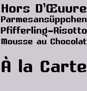À la Carte font sample