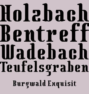 Burgwald Exquisit Bold Condensed font sample